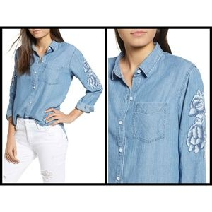 💕RAILS💕 Denim Chambray Floral Embroidered Blouse